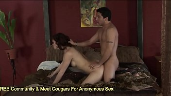 teasing cock cumming pussy on Mature milf strokes and sucks on a young studs erect member