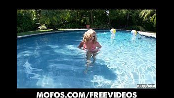 pool blonde rolls Sexy boob dance