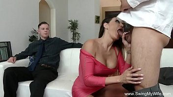 watching chastity2 in wife Cfnm brunette nurses take turn giving blowjob to big cock