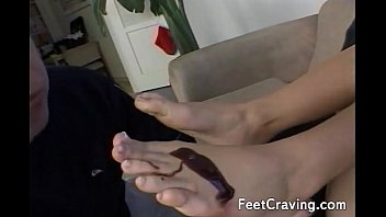 her feet licks Blindfolded wife tricked into girl going down on her3