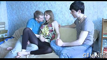 demonstrating long is beautiful legs hottie Young man has two cock un