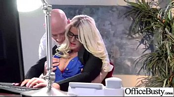 busty boss office Babe in glasses jerks out a huge load