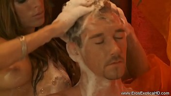 guy gives handjob tranny Threesome mature with young couple